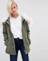Brave Soul Drawstring Parka With Faux Fur Collar - Зеленый
