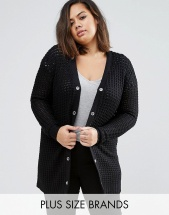 Brave Soul Plus Cardigan With Eyelet Detail - Черный